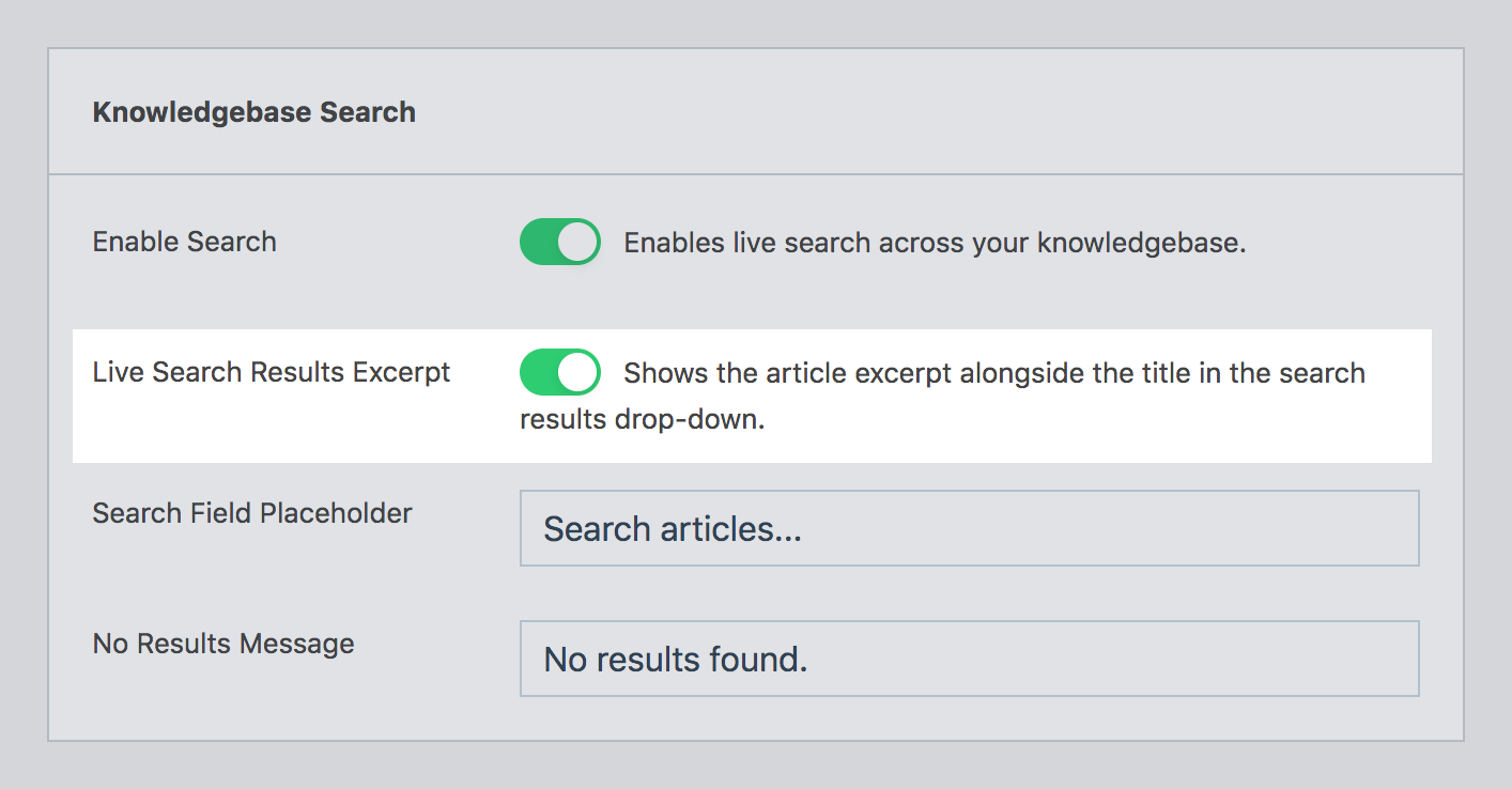 Live search excerpt option in WP Knowledgebase admin settings page.
