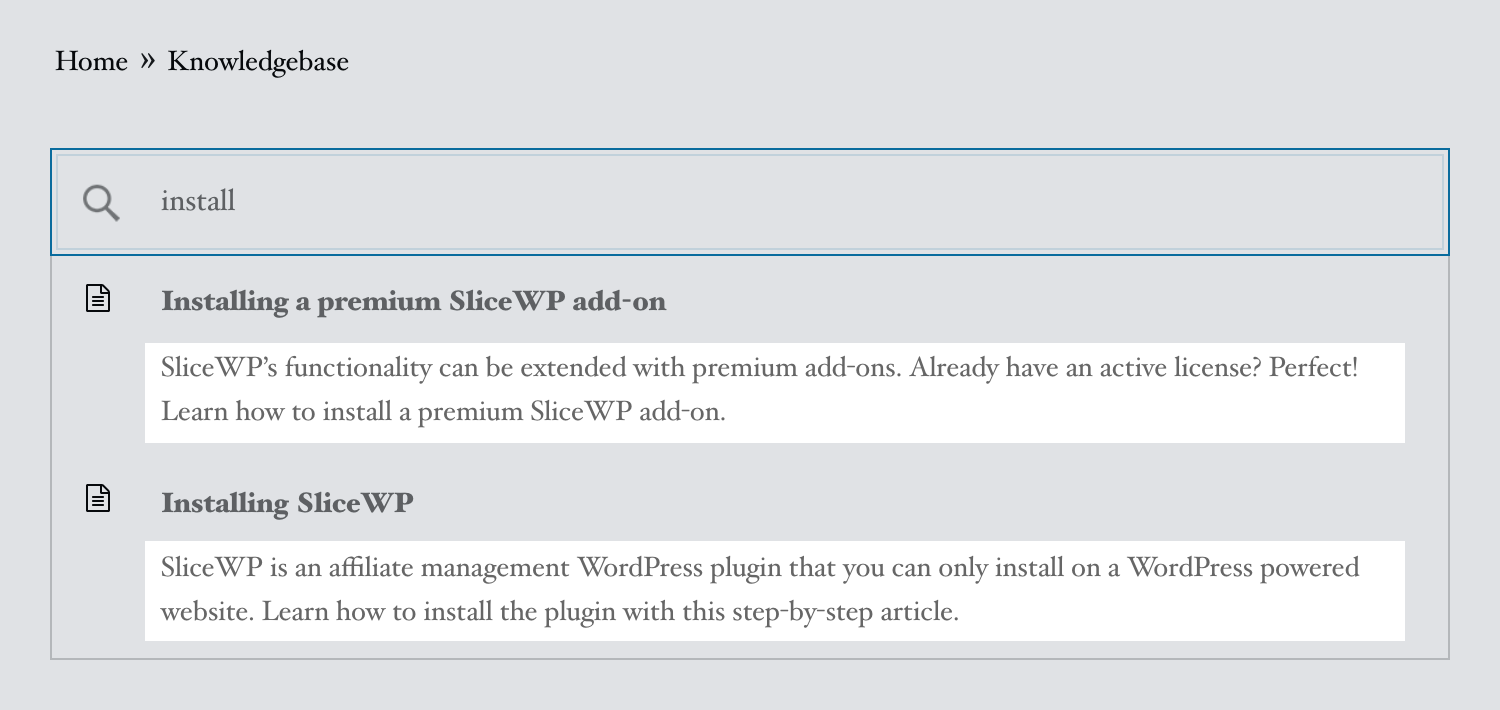 Live search excerpt on the front-end side with WP Knowledgebase.