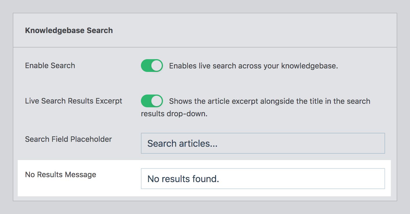 Live search no results message option in WP Knowledgebase admin settings page.