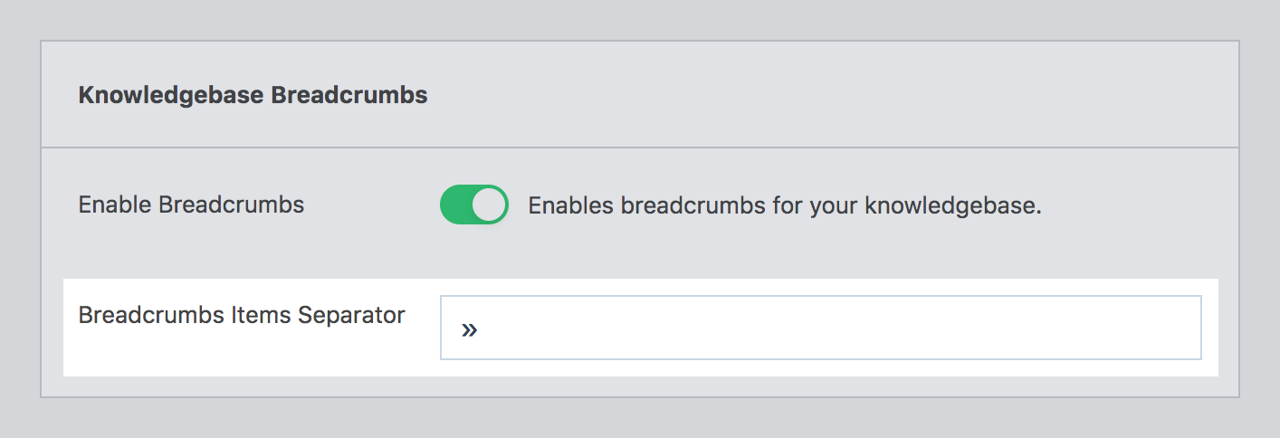 Breadcrumbs separator option in the plugin's setting page.