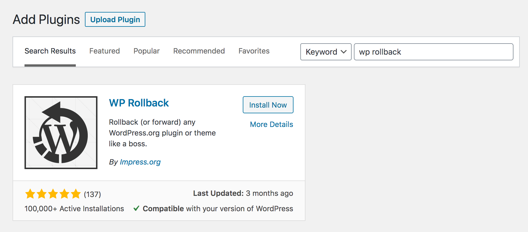 WordPress admin plugins page, searching for WP Rollback plugin.