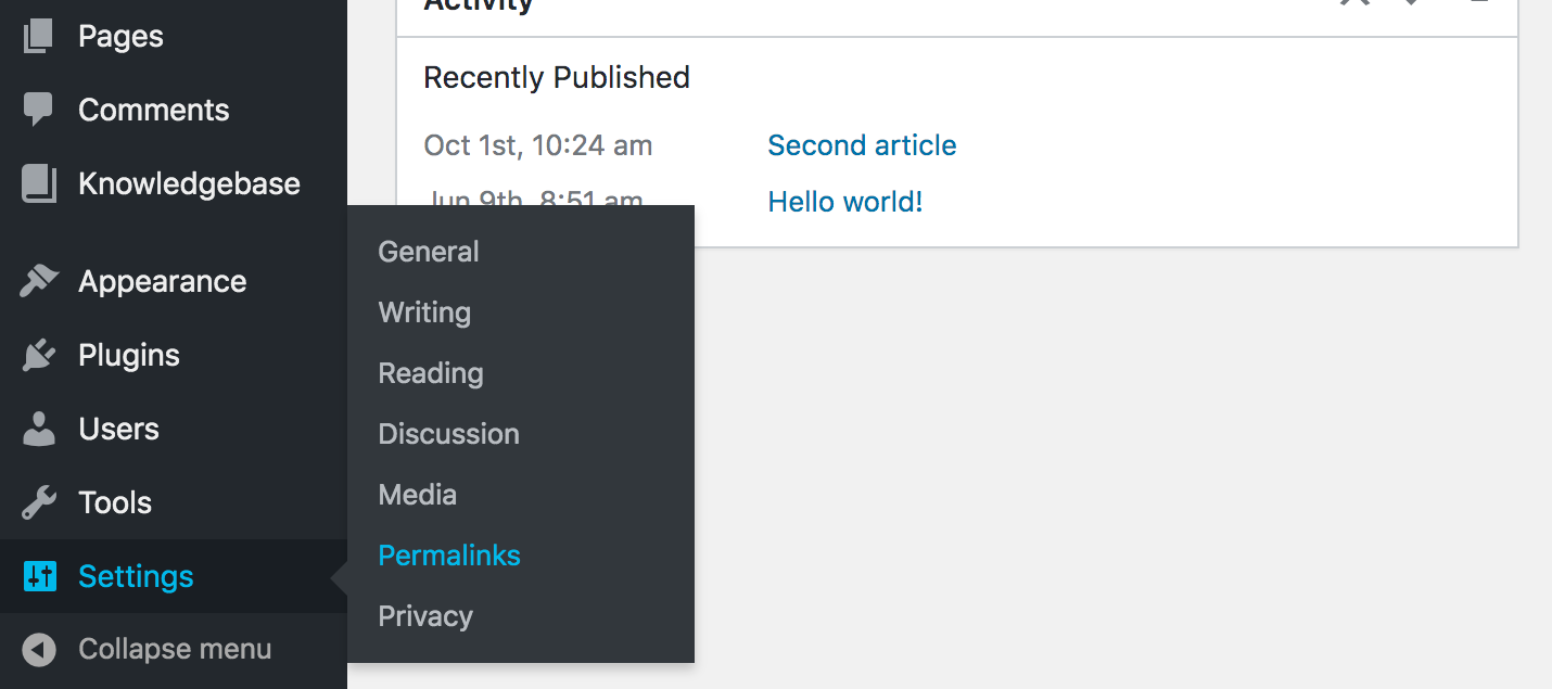 Permalink settings menu in WordPress admin dashboard