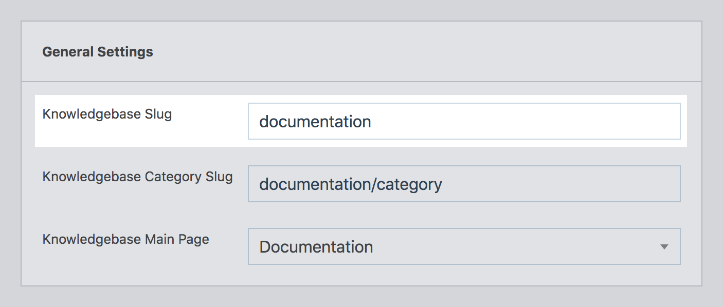 Setting the custom post type slug in WP Knowledgebase admin area