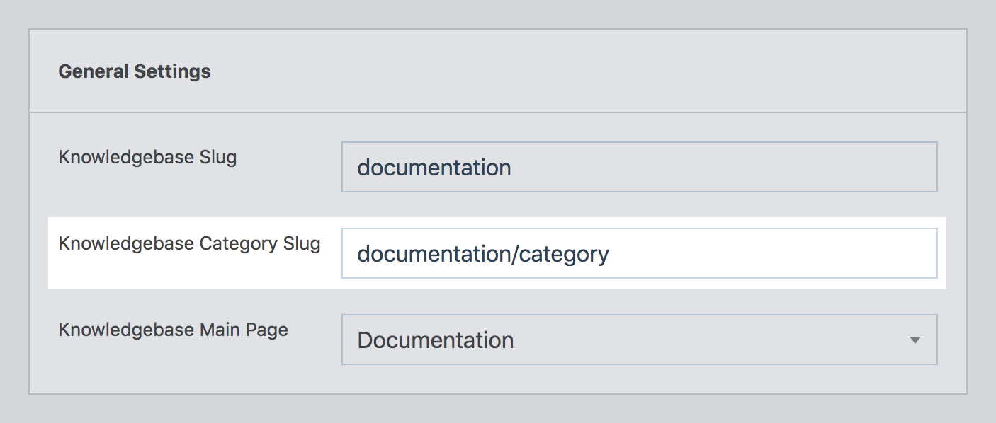 Setting the category taxonomy slug in WP Knowledgebase admin area