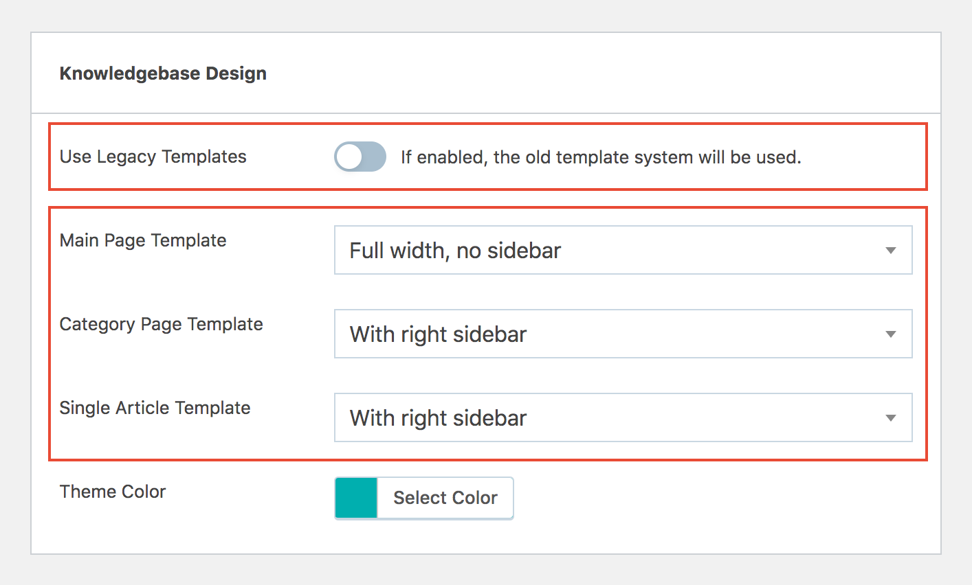 WP Knowledgebase select template styles in admin interface